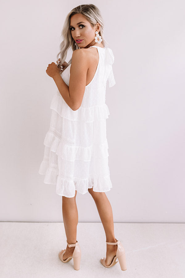 About A Twirl Ruffle Dress In White
