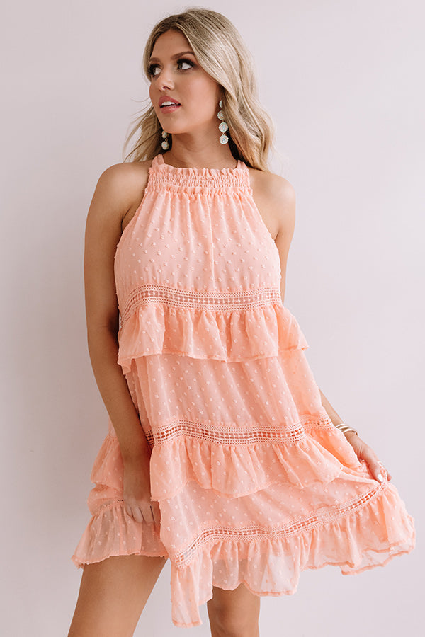 About A Twirl Ruffle Dress In Peach