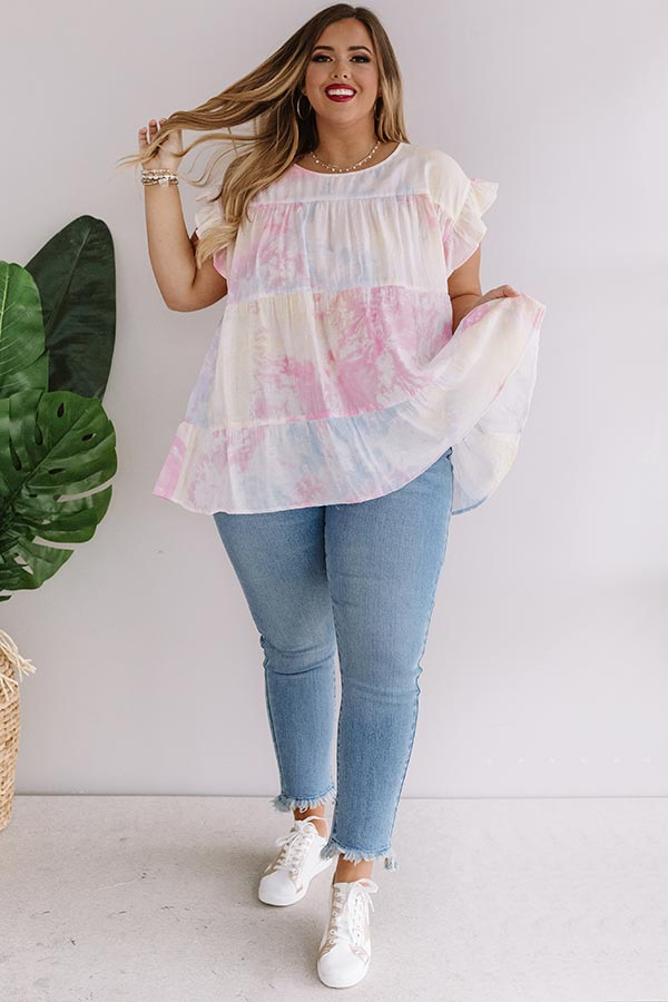 Splashes From The Sea Tie Dye Babydoll Top