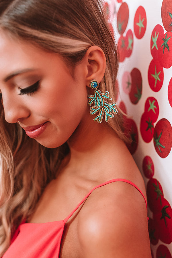 Chic And Charming Beaded Earrings In Turquoise