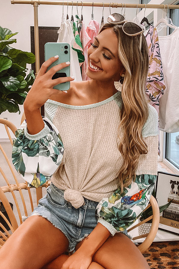 Chasing Sunsets Waffle Knit Shift Top In Beige