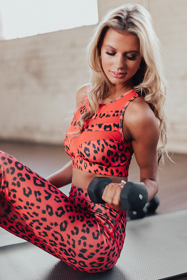 Passion For Fitness Cheetah Print Mesh Sports Bra In Red