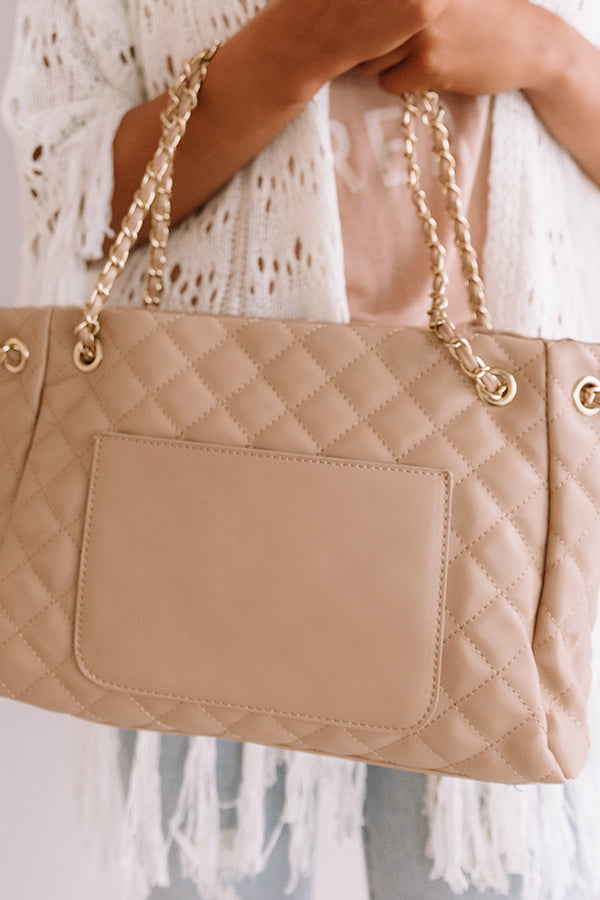Paris Premier Quilted Tote In Iced Latte