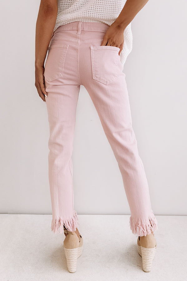 The Sydney High Waist Frayed Skinny In Pink