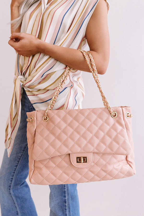 Paris Premier Quilted Tote In Blush