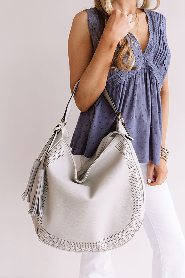 Sweet As Pie Faux Leather Tote in Grey