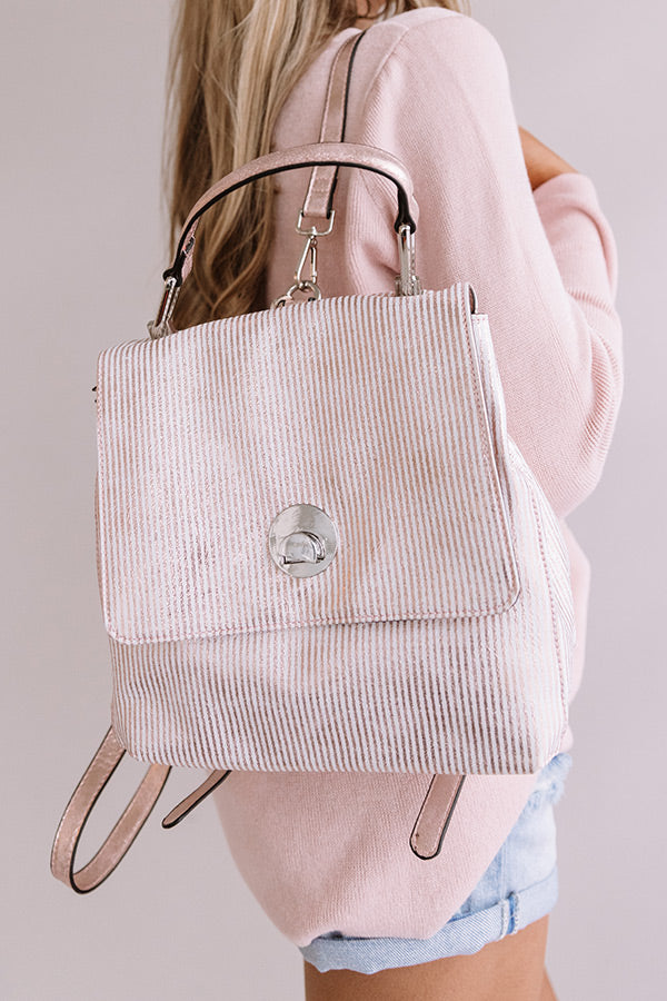 Exciting Sights Metallic Pinstripe Backpack in Pink