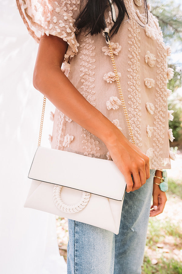 Greenwich Village Faux Leather Clutch in Ivory