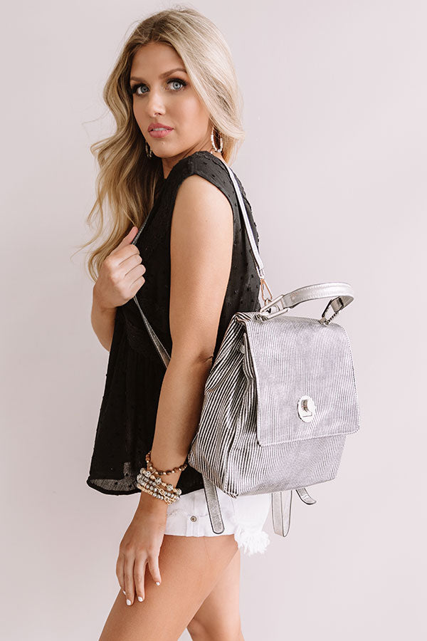 Exciting Sights Metallic Pinstripe Backpack in Silver