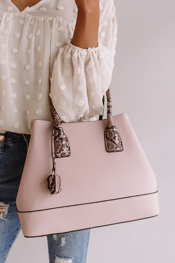 Your Biggest Fan Faux Leather Tote in Blush