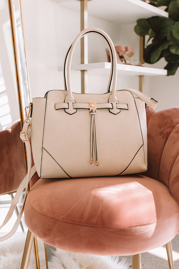 CEO Material Faux Leather Tote in Cream