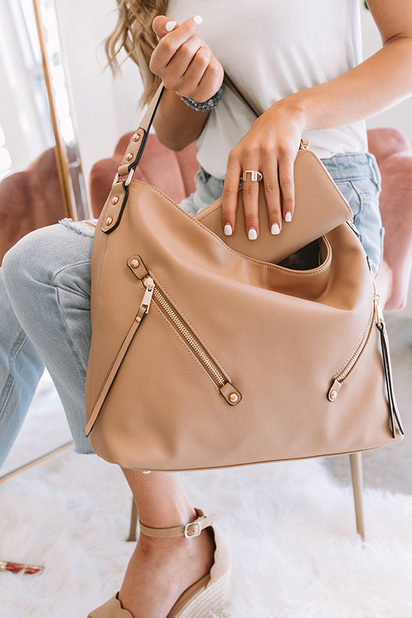 All Business Faux Leather Tote in Iced Latte