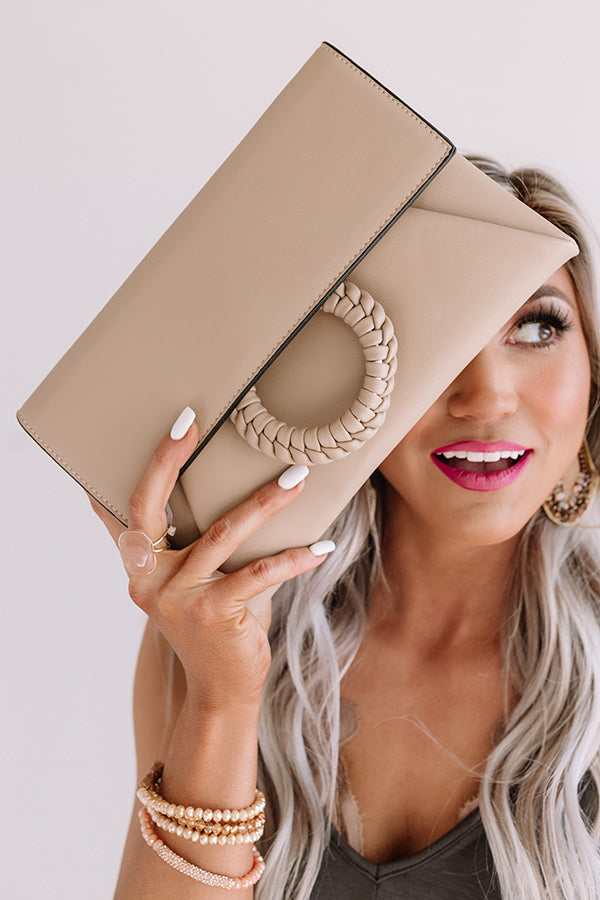 Greenwich Village Faux Leather Clutch in Warm Taupe