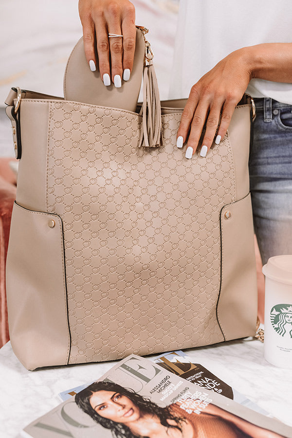 Steal Your Heart Faux Leather Tote in Warm Taupe