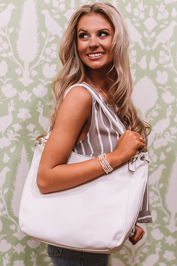 Joy For Days Faux Leather Tote in Ivory