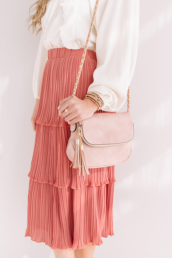 Travel Abroad Faux Leather Crossbody in Blush