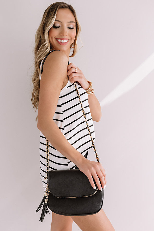 Travel Abroad Faux Leather Crossbody in Black