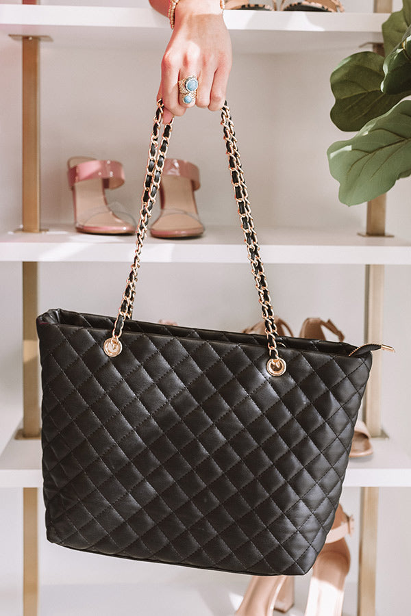 Give Them Glam Quilted Tote in Black