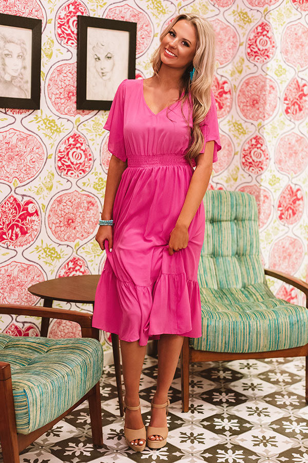 Sunset Sail Midi Dress In Hot Pink