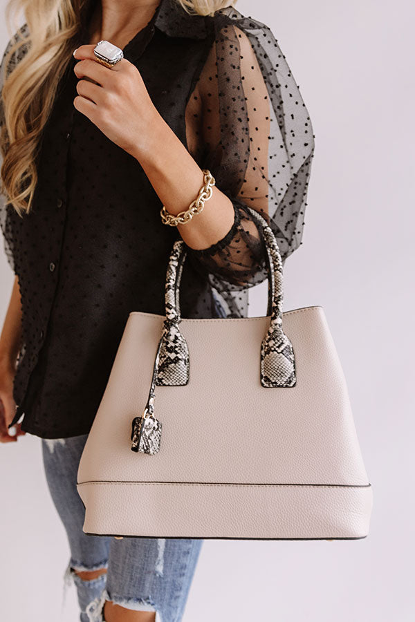 Your Biggest Fan Faux Leather Tote in Birch