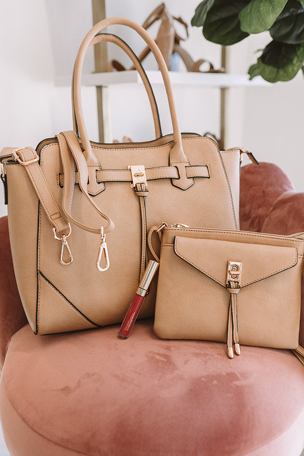 CEO Material Faux Leather Tote in Iced Latte