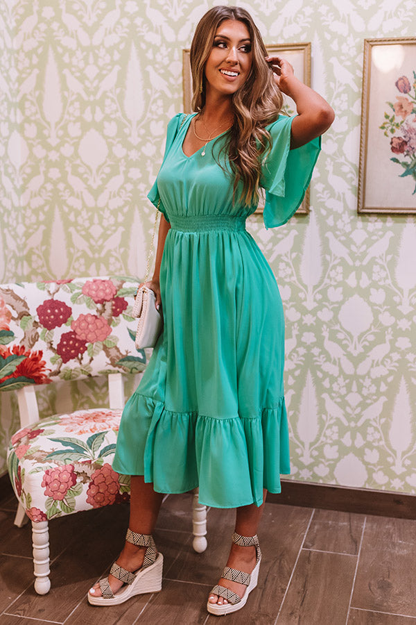 Sunset Sail Midi Dress In Emerald