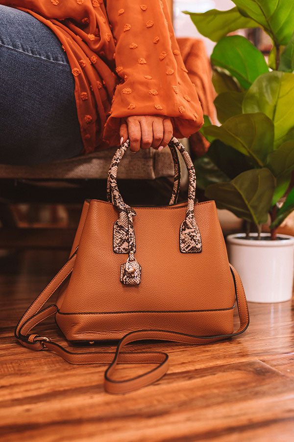 Your Biggest Fan Faux Leather Tote in Camel
