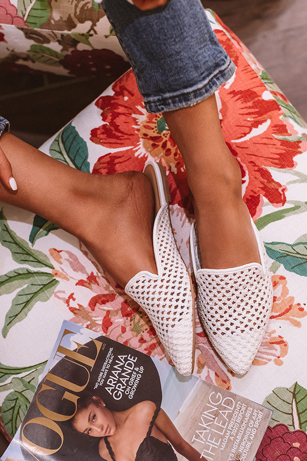 The Lila Woven Flat In White