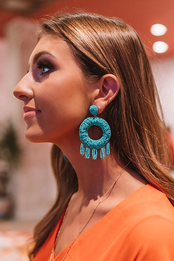 Styled To Perfection Beaded Earrings In Turquoise