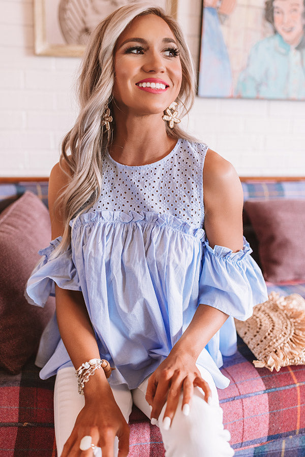 Baja Beautiful Babydoll Top In Sky Blue