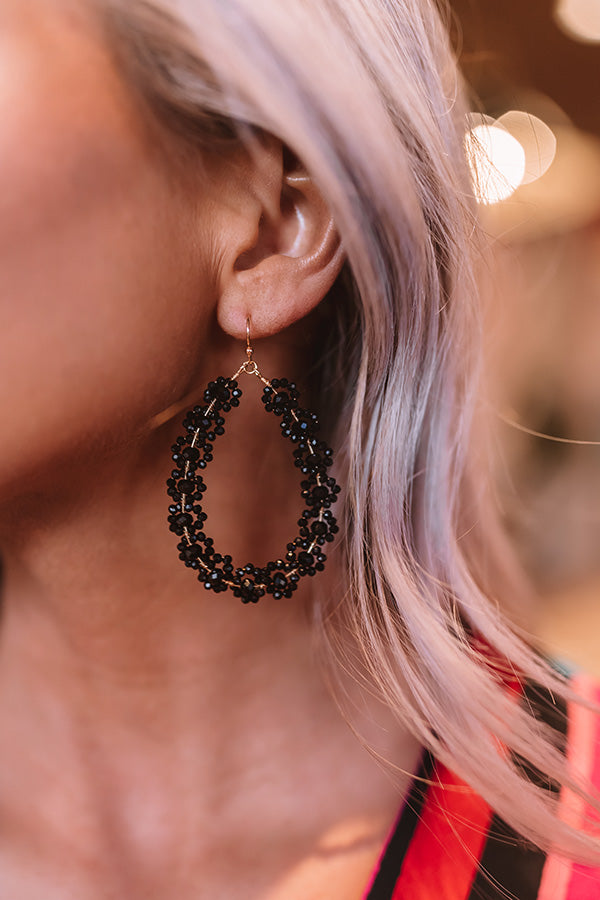 Sun-Sational Beaded Earrings In Black