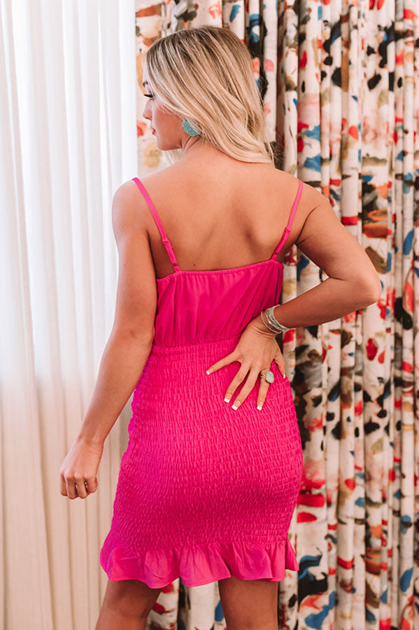 Cabo Daydream Smocked Dress In Hot Pink