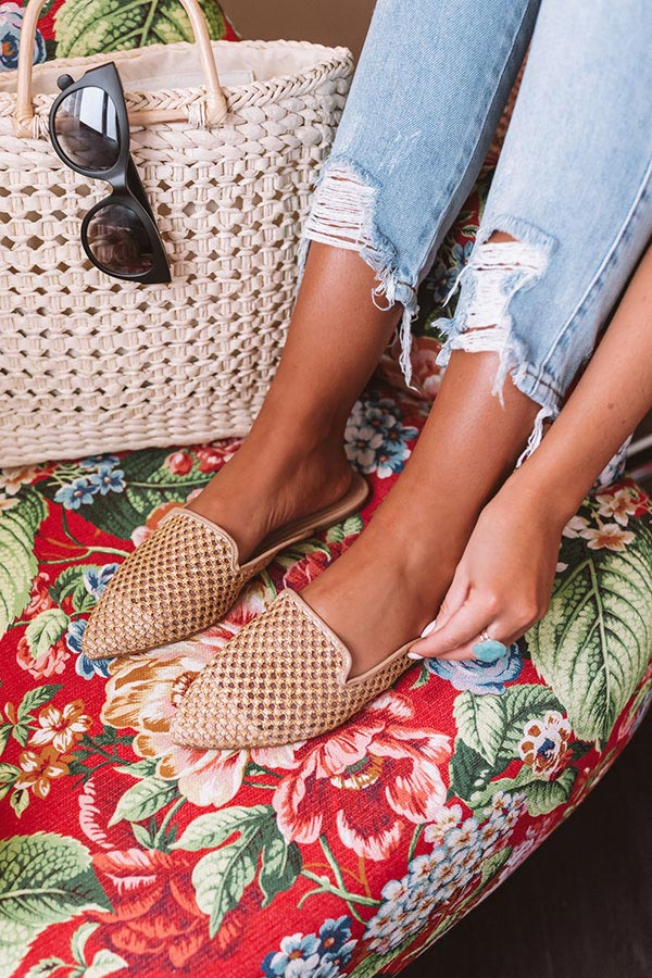 The Lila Woven Flat In Tan