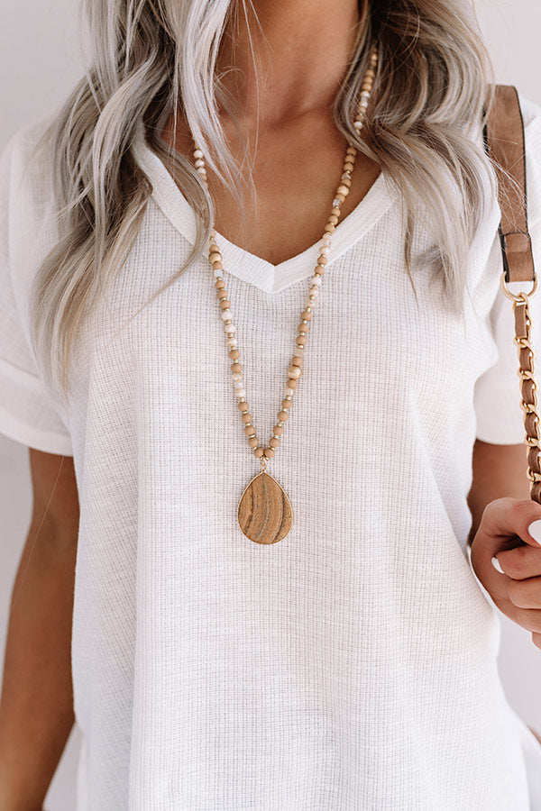 Sea Dive Beaded Necklace In Iced Latte