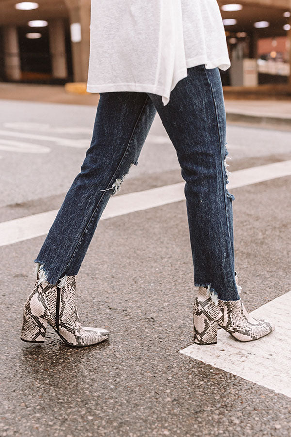 The Shay Snake Print Bootie
