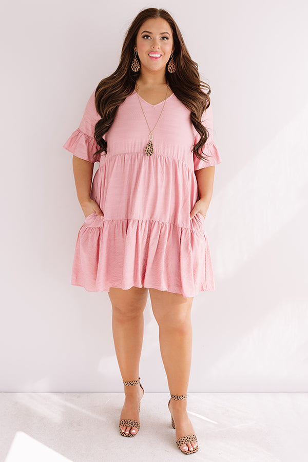 Bahama Brunch Babydoll Dress In Blush