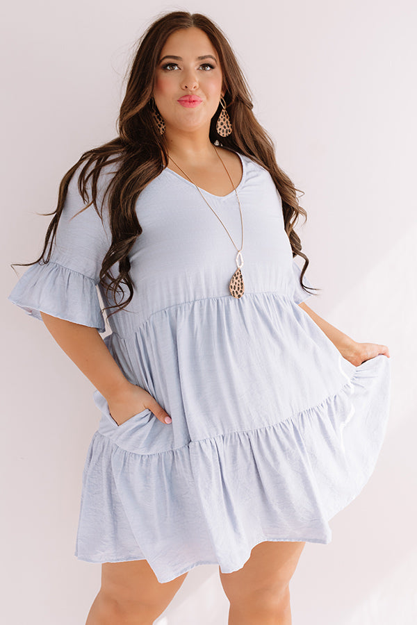 Bahama Brunch Babydoll Dress In Airy Blue