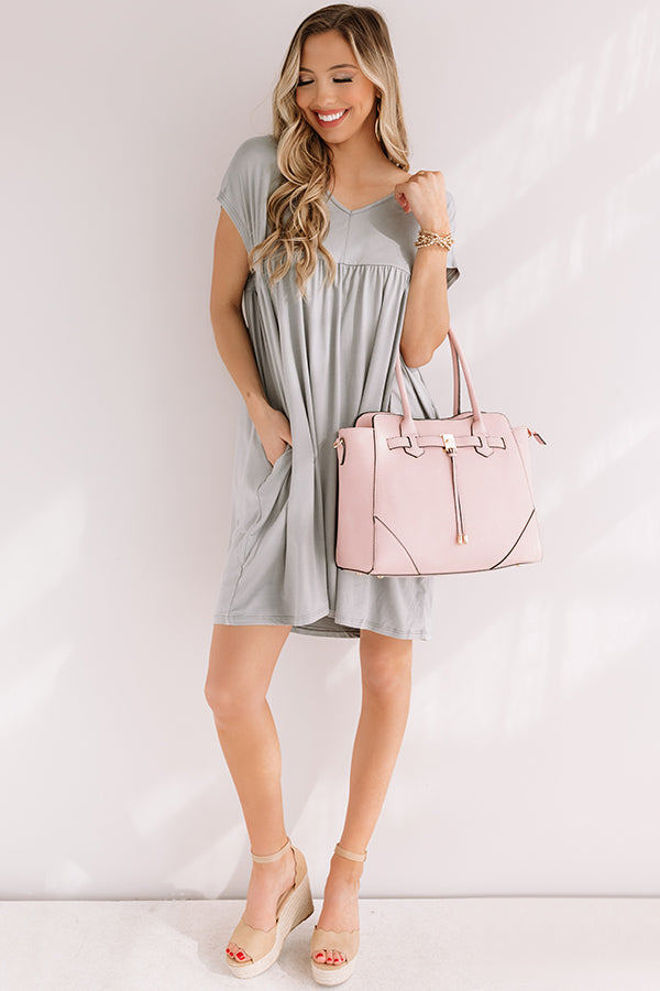 Dunes And Daydreams Babydoll Dress In Grey