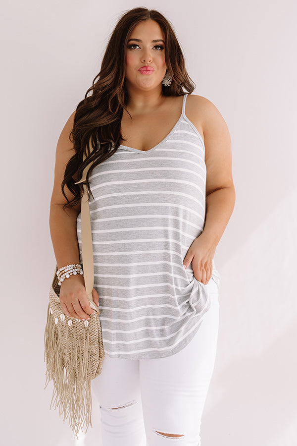 Cali Coast Stripe Shift Tank In Grey