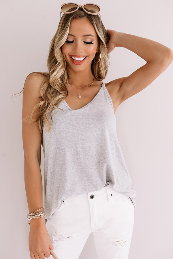 Kisses On The Coast Shift Tank In Grey