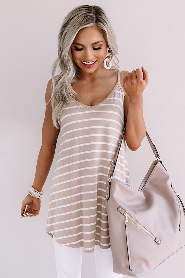 Cali Coast Stripe Shift Tank In Warm Taupe