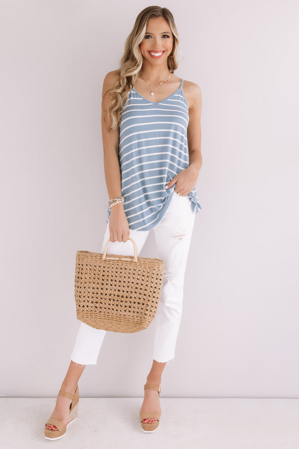 Cali Coast Stripe Shift Tank In Airy Blue