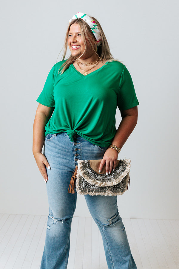 Coastal Chic Shift Tee In Emerald