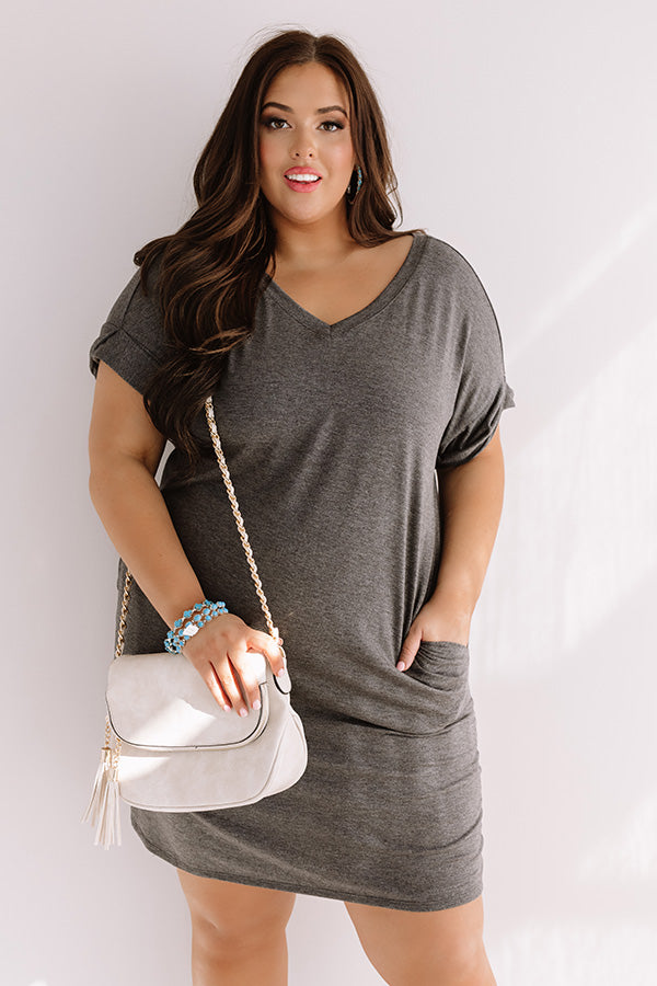 Macarons In Manhattan T-Shirt Dress In Charcoal
