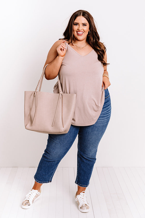 Kisses On The Coast Shift Tank In Warm Taupe