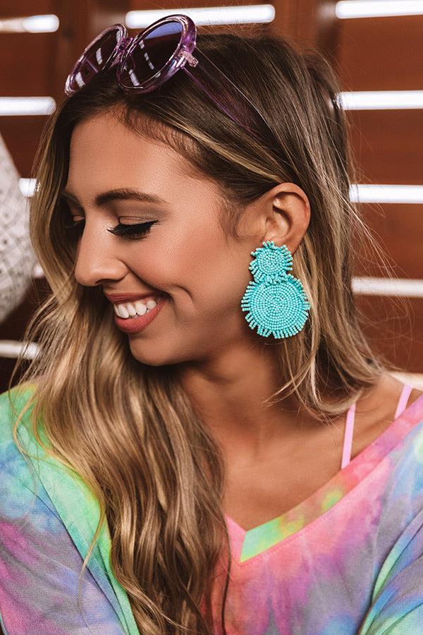 Cayman Crushing Beaded Earring in Turquoise