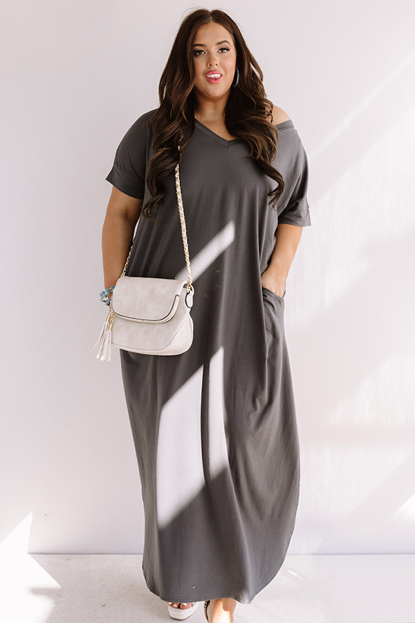 Buena Vista Vacay T-Shirt Maxi In Charcoal