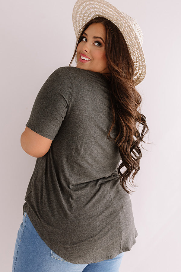 Coastal Chic Shift Tee In Charcoal