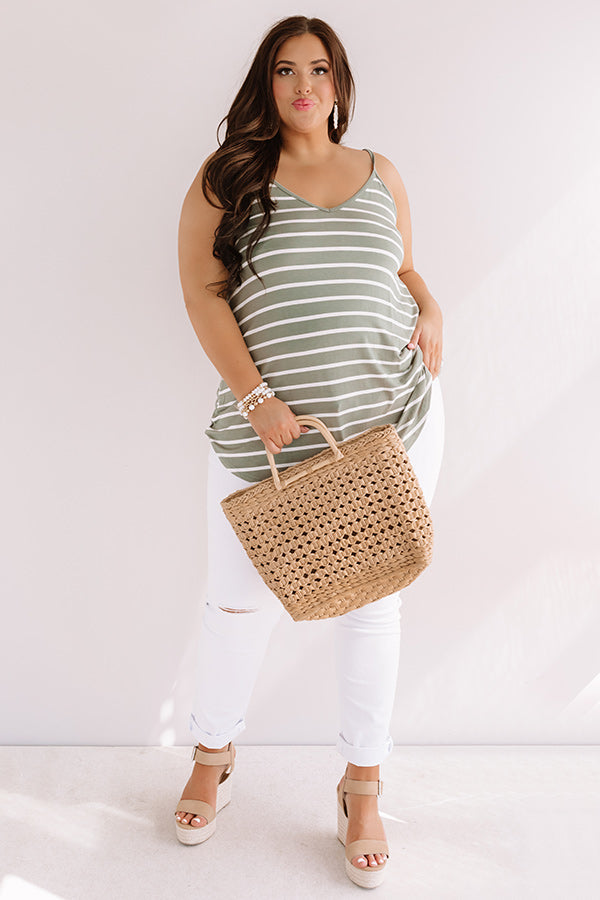 Cali Coast Stripe Shift Tank In Sage