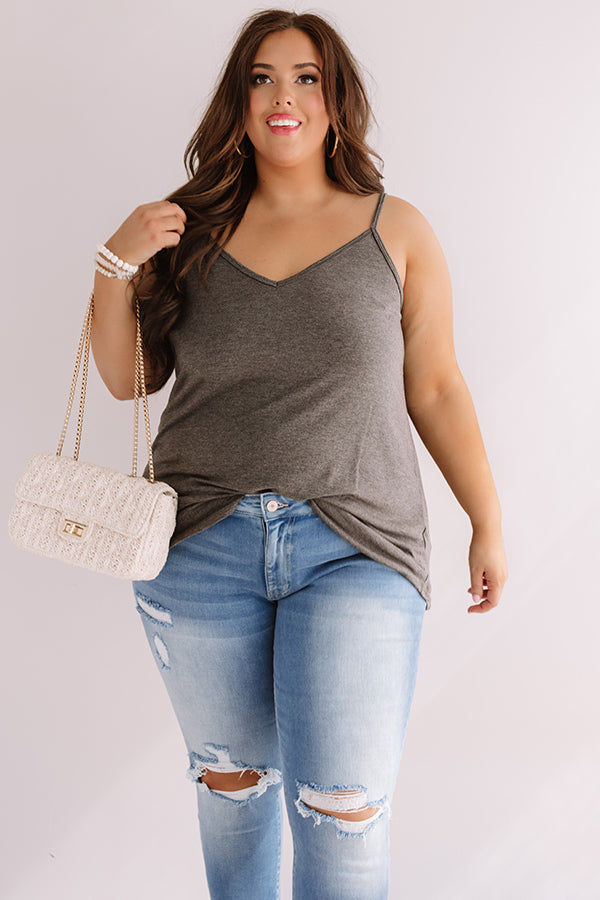 Kisses On The Coast Shift Tank In Charcoal